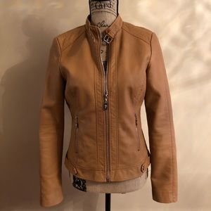 Guess leather jacket small brown